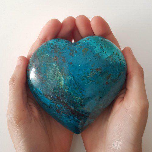 corazón de crisocola grande