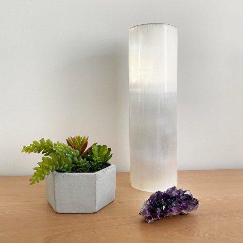 lámpara de selenita cilindro grande