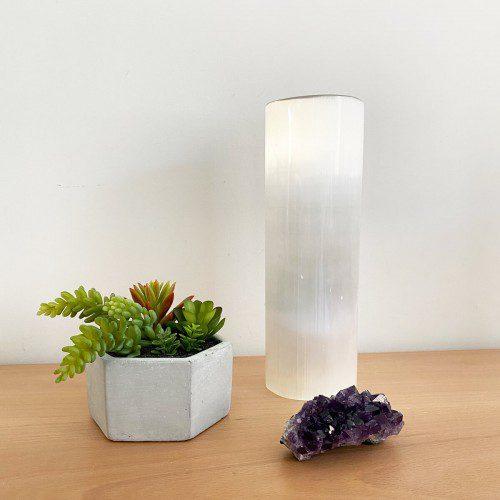 lámpara de selenita cilindro mediana