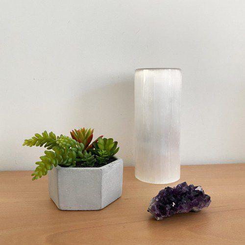 lámpara de selenita cilindro pequeña