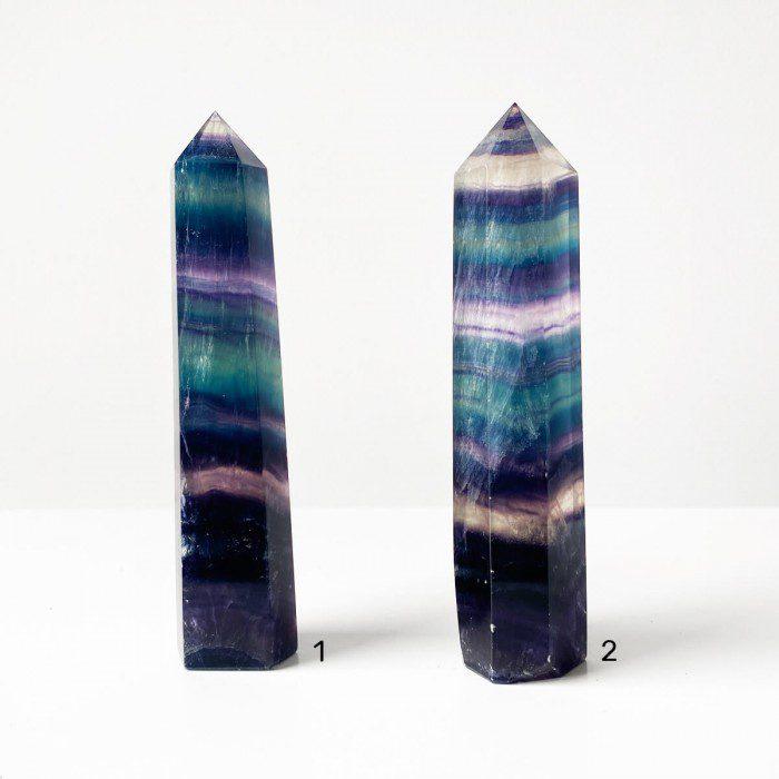 punta de fluorita multicolor