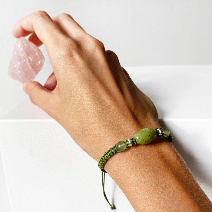 pulsera de macramé jade verde