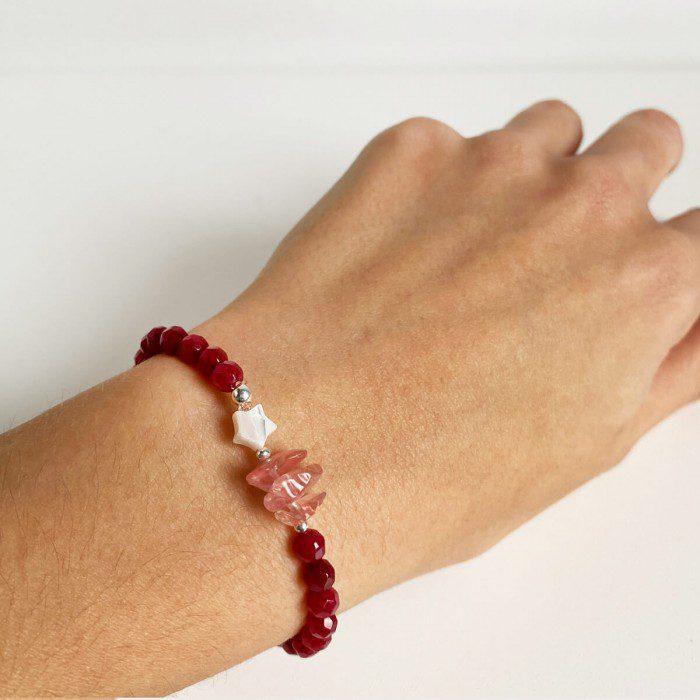 pulsera elástica de ágata rubí 2