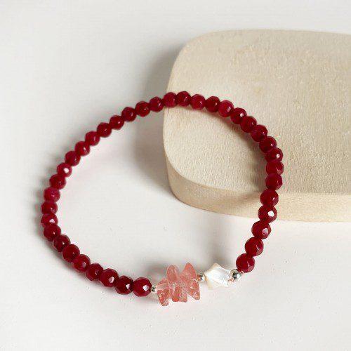 pulsera elástica de ágata rubí