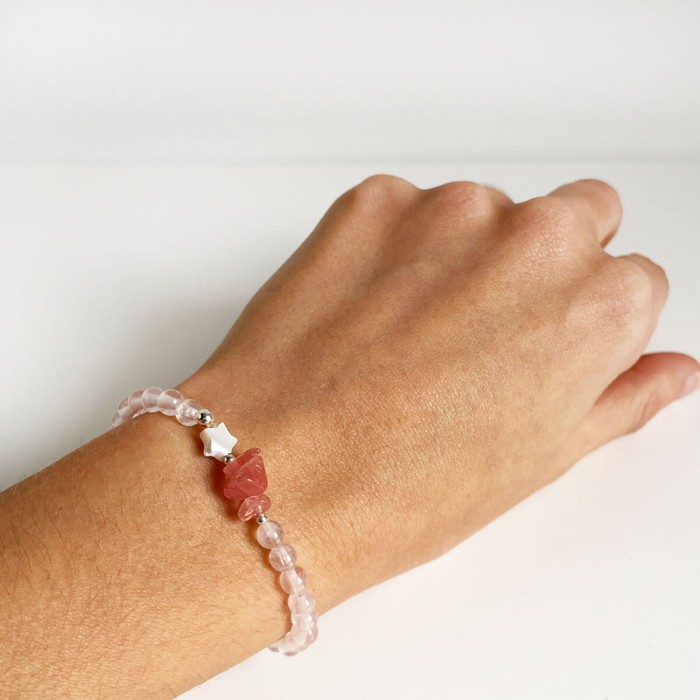 pulsera elástica de cuarzo rosa 2