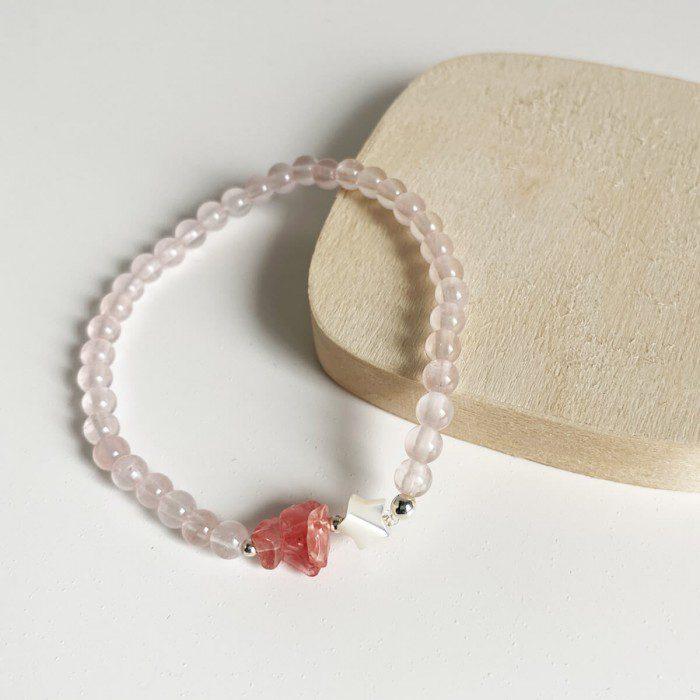 pulsera elástica de cuarzo rosa