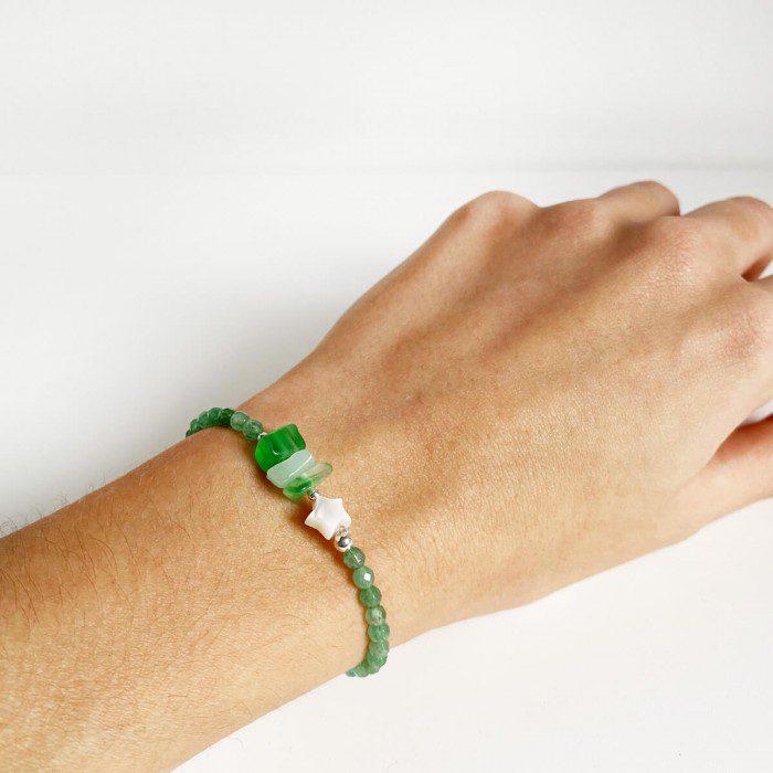 pulsera elástica de cuarzo verde 2