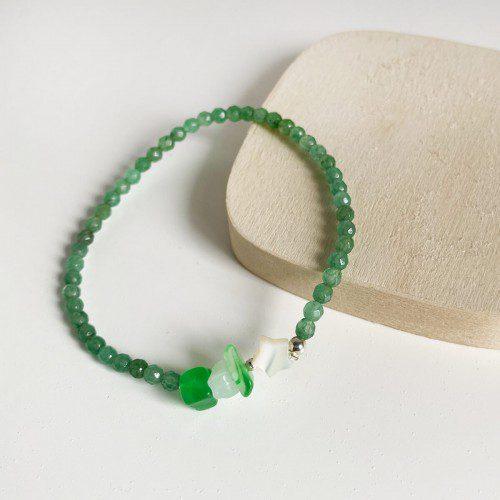 pulsera elástica de cuarzo verde
