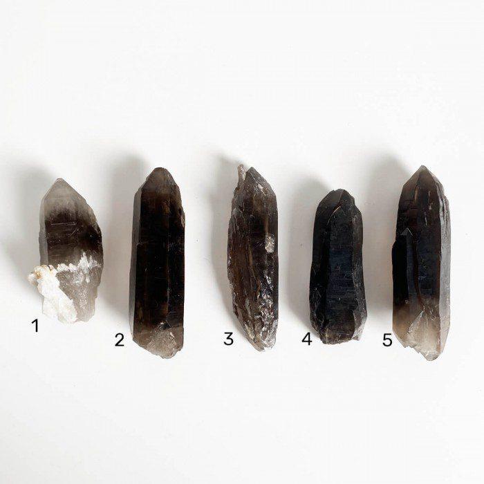 Puntas de cuarzo ahumado semipulido alargada