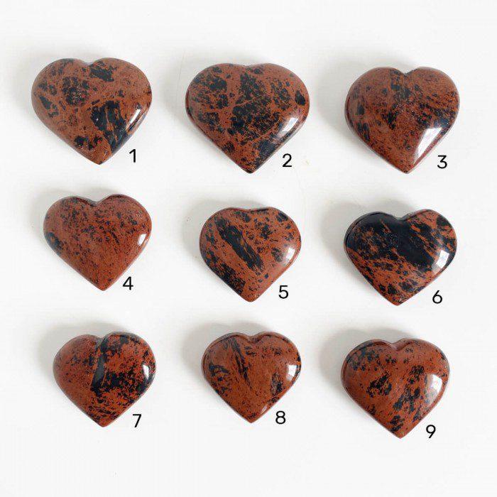 corazón de obsidiana caoba