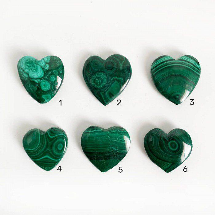 corazones de malaquita medianos