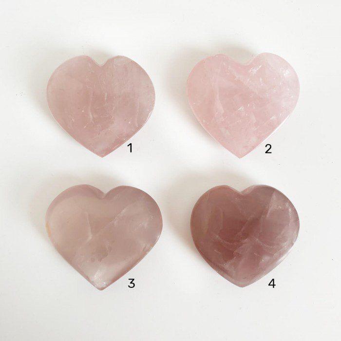 cuarzo rosa extra en forma de corazón