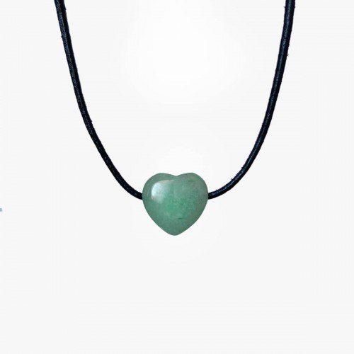 colgante de cuarzo verde corazón