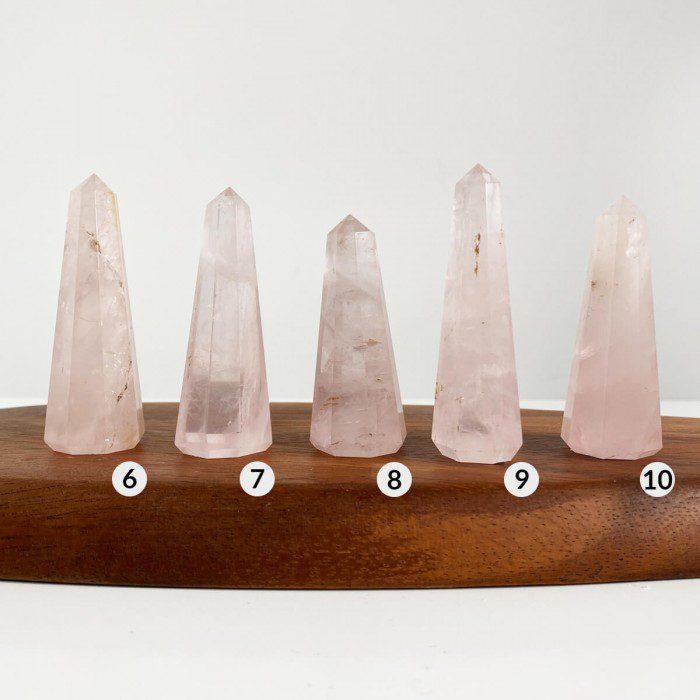 punta de cuarzo rosa pulida 2