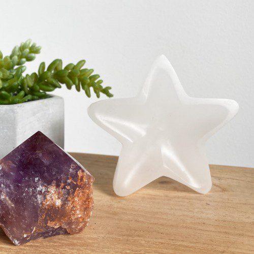 estrella de selenita blanca