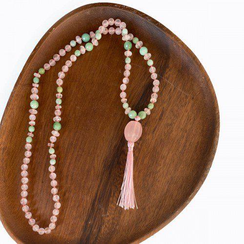 japa mala de cuarzo rosa y verde